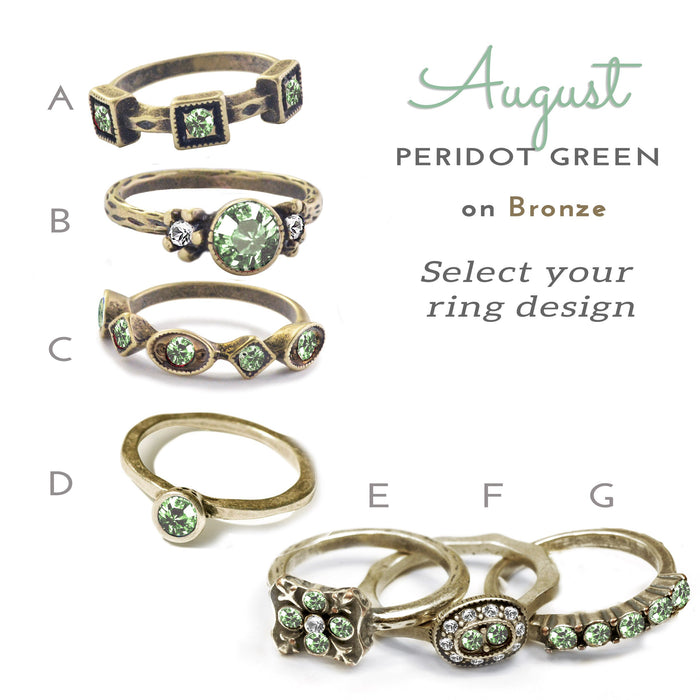 Stackable August Birthstone Ring - Peridot Green - Sweet Romance Wholesale