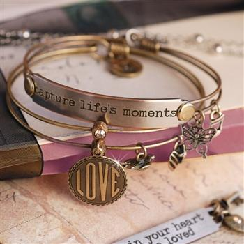 Love and Life Bangle Bracelet Set BR418-BR374-BZ - Sweet Romance Wholesale
