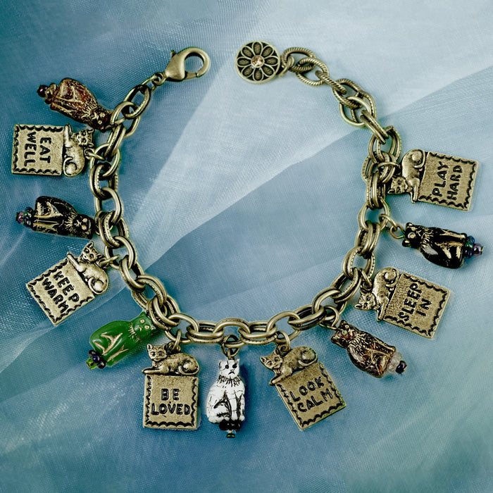 Good Life Cat Charm Bracelet & Earring Set - Sweet Romance Wholesale