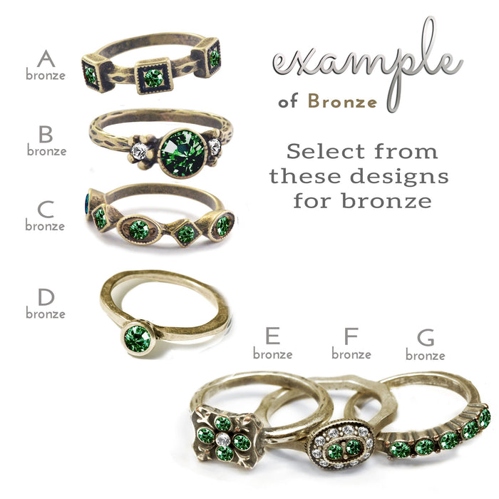 Birthstone Stackable Vintage Ring - Sweet Romance Wholesale
