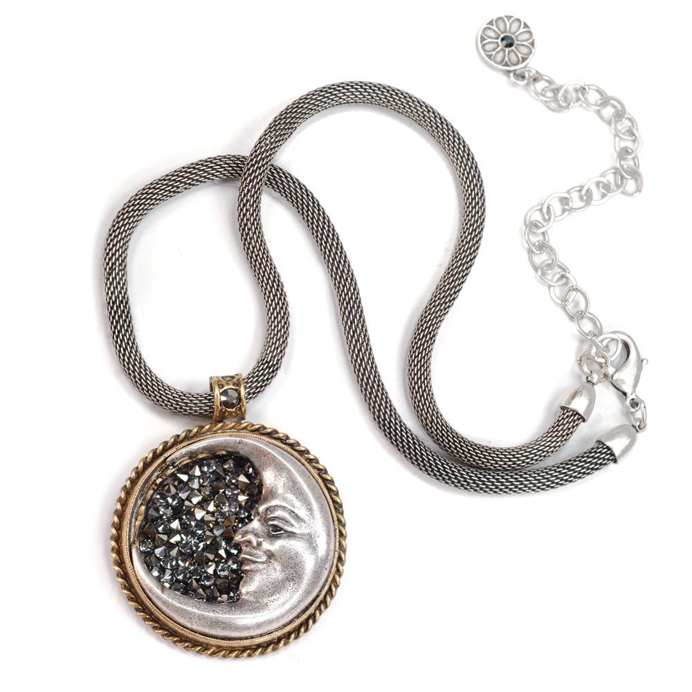Crescent Silver Moon Necklace by Sweet Romance N1282 - Sweet Romance Wholesale