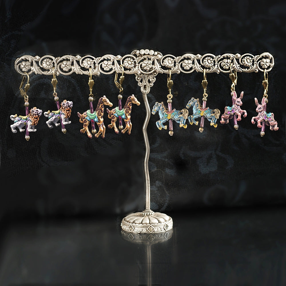 Silver Trellis Display & Carousel Animal Earrings DEAL101 - Sweet Romance Wholesale