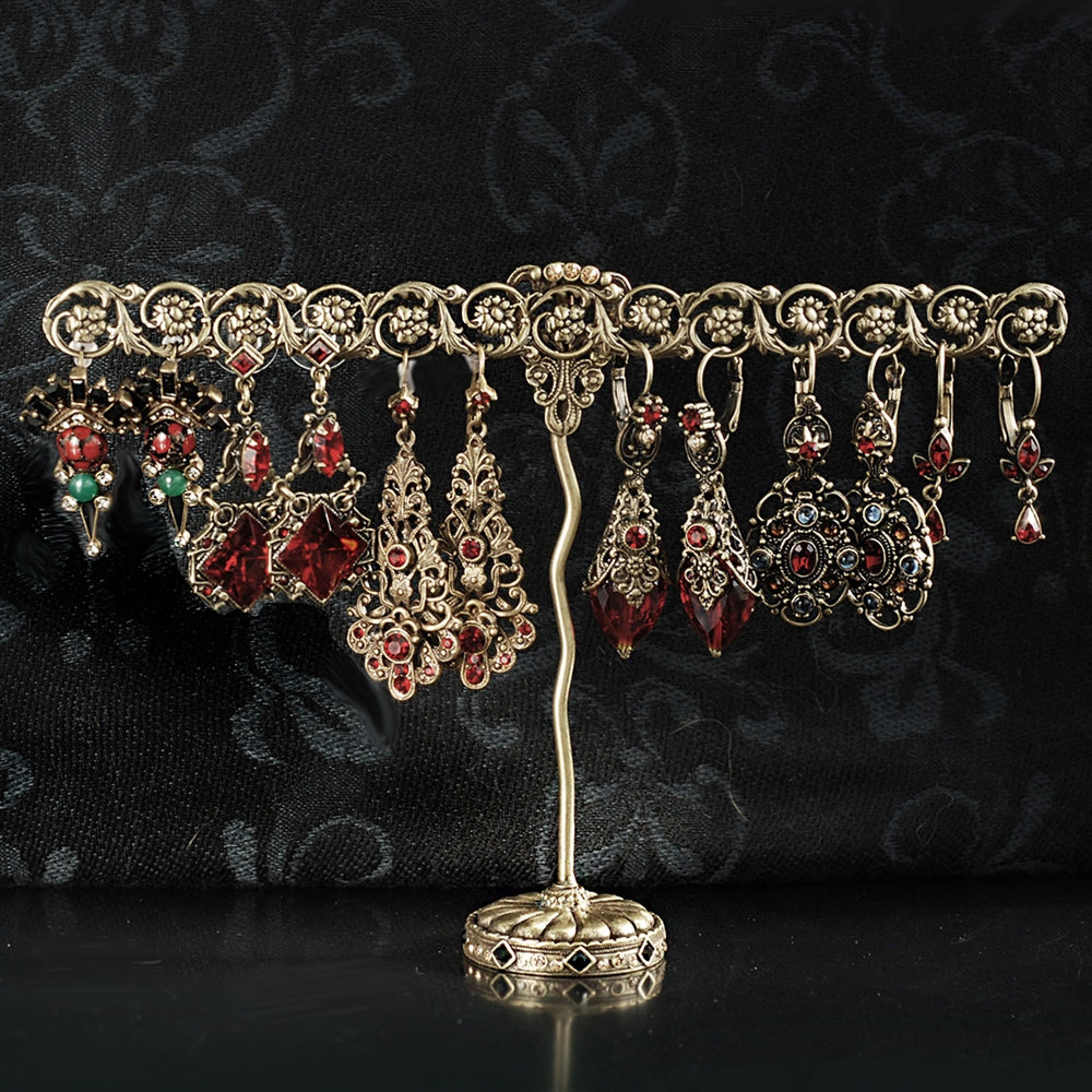 Bronze Trellis Display & Garnet Earrings
