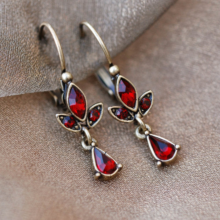 Bronze Trellis Display & Garnet Earrings DEAL105 - Sweet Romance Wholesale
