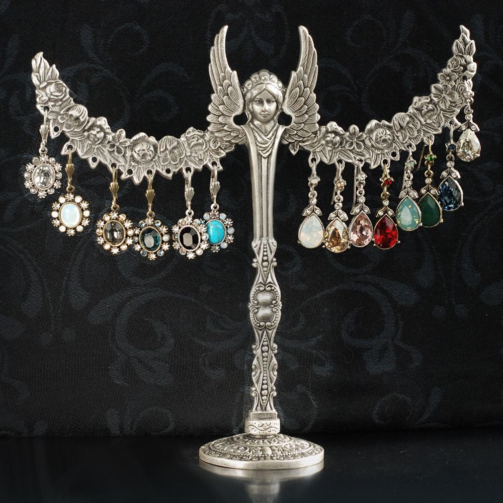 Silver Angel Display with Swarovski Crystal Earrings - Sweet Romance Wholesale