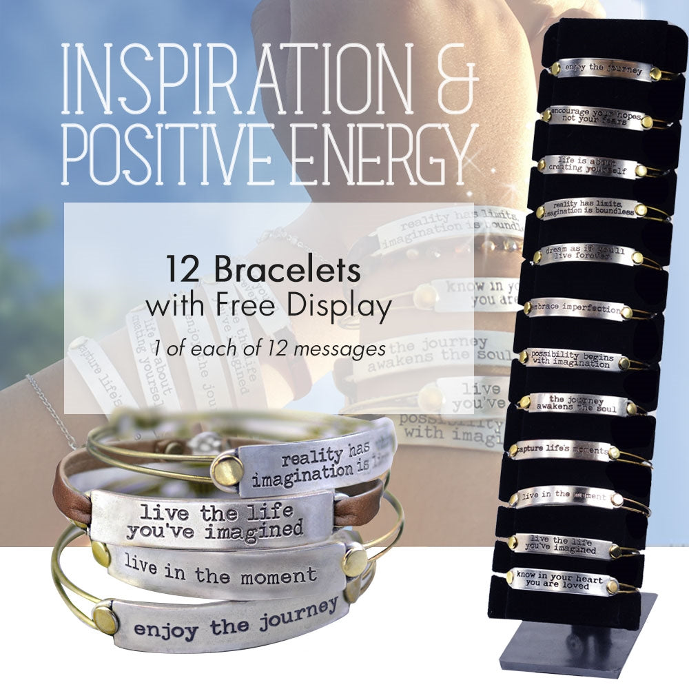 12pc Inspirational Message Bracelets + FREE Display DEAL1301