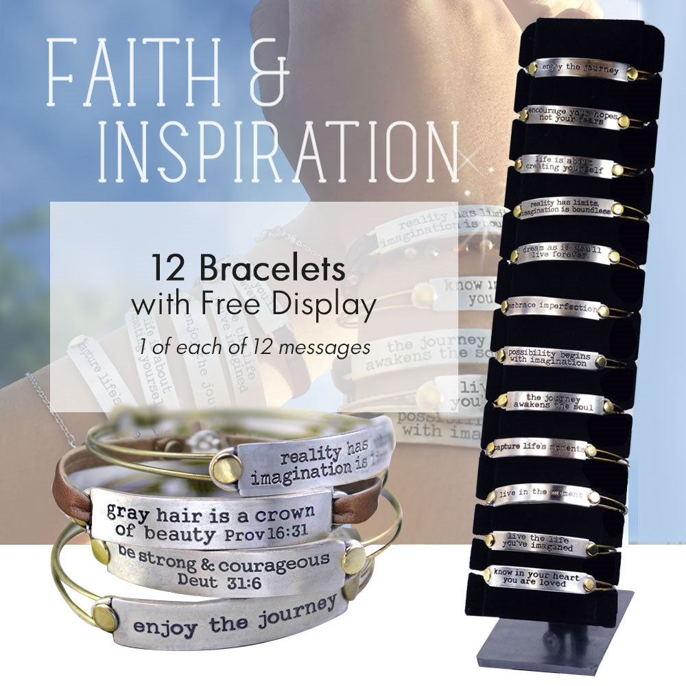 12pc Bible Verse Bracelets + FREE Display DEAL1302 - Sweet Romance Wholesale