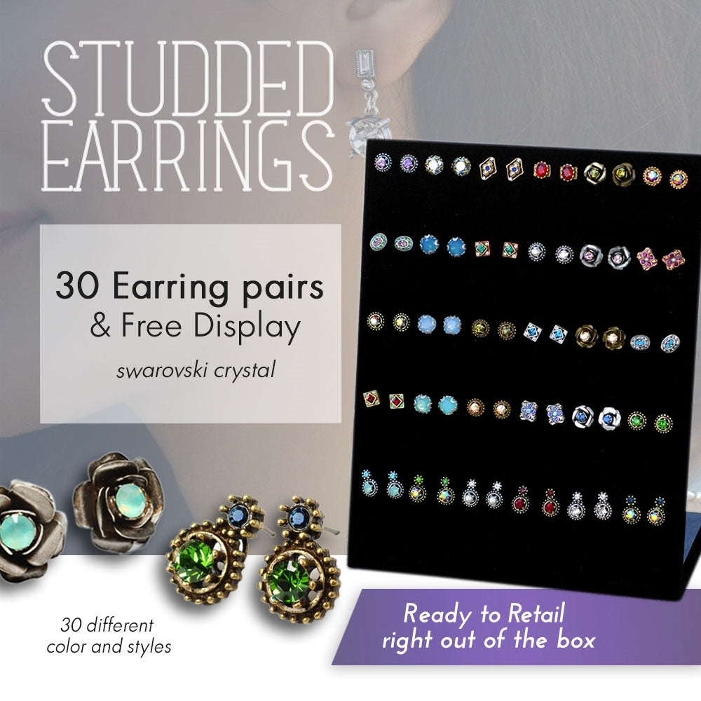 30 pr Stud Earrings + Free Display DEAL1399 - Sweet Romance Wholesale