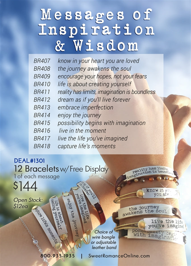 Inspirational Bangle Deal: 12 Bracelets + Free Display - Sweet Romance Wholesale