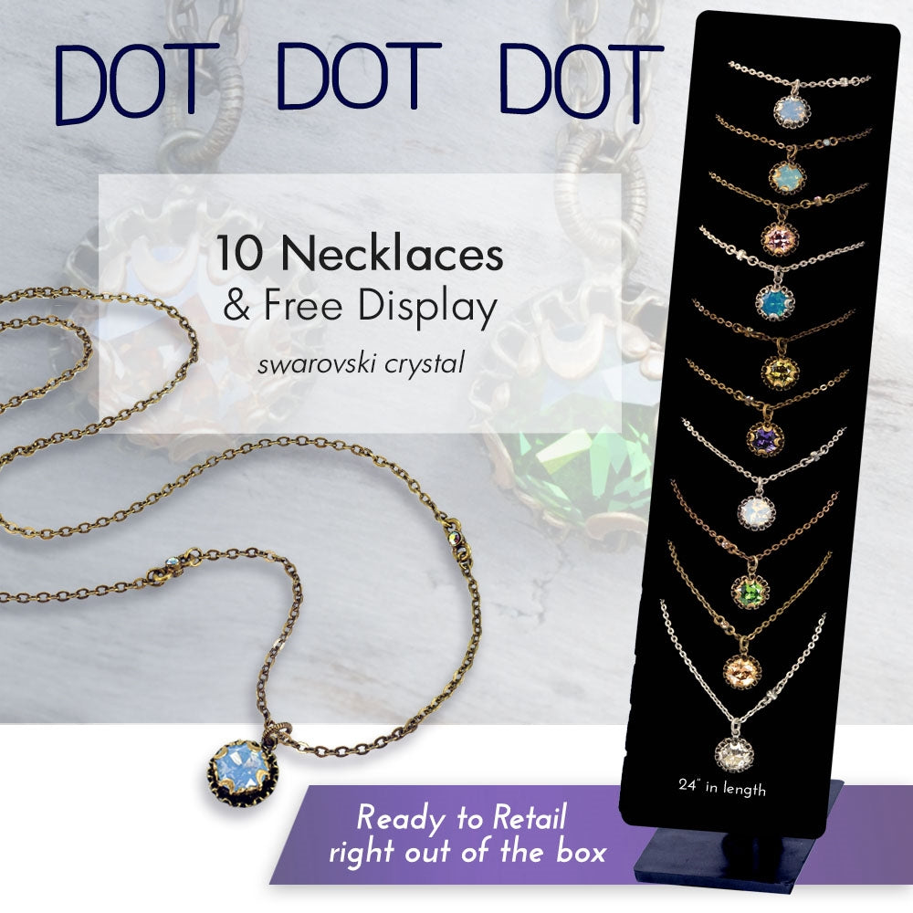 Crystal Dot Necklace Deal: 10 Necklaces + Free Display DEAL1512 - Sweet Romance Wholesale