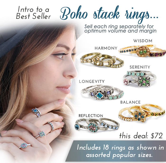 Boho Stack Rings Intro Deal DEALSTACK - Sweet Romance Wholesale