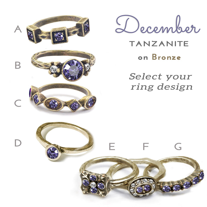 Stackable December Birthstone Ring - Tanzanite Blue - Sweet Romance Wholesale