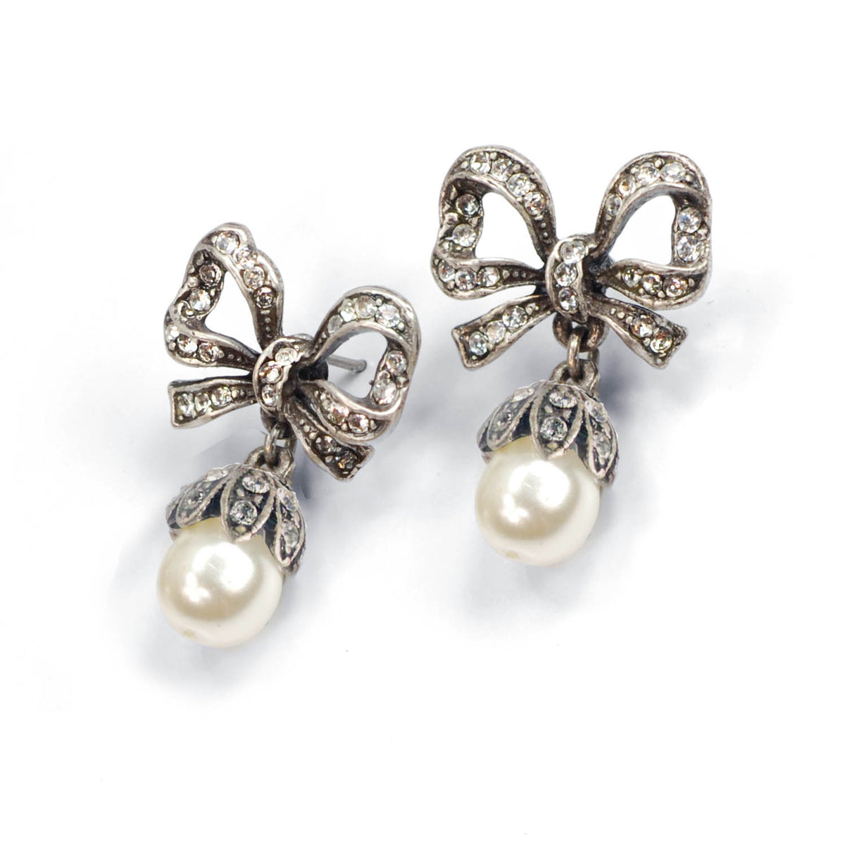 Crystal Bow Pearl Earrings E1265 - Sweet Romance Wholesale