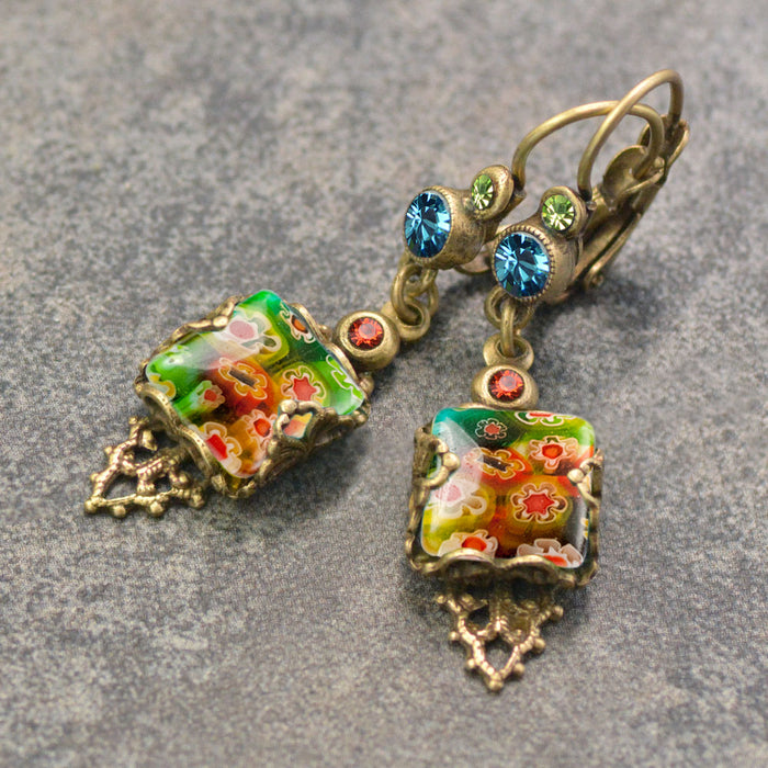 Millefiori Vintage Square Earrings E1382 - Sweet Romance Wholesale