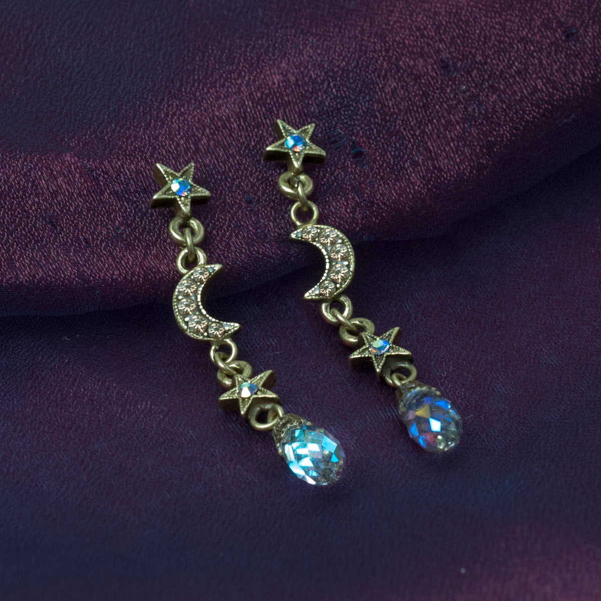Dangling Moon & Star Earrings E1494 - Sweet Romance Wholesale