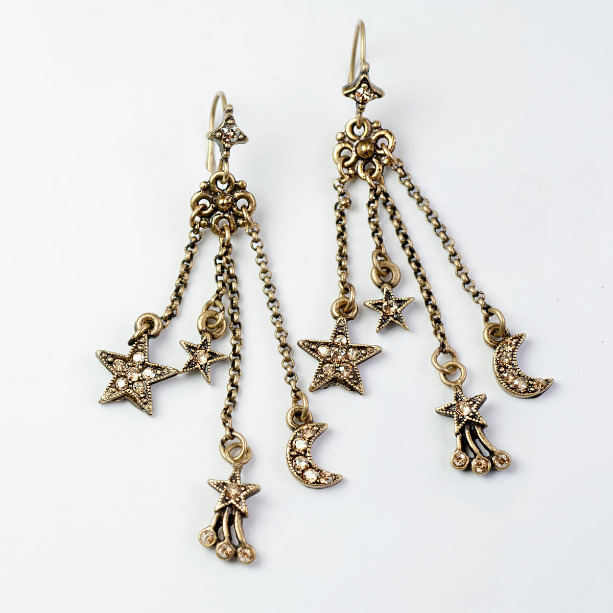 Moon & Star Delicate Tassel Earrings E1500 - Sweet Romance Wholesale