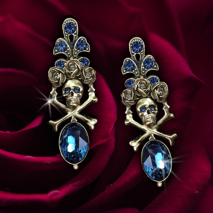 Elvira's Skull and Roses Earrings EL_E1517 - Sweet Romance Wholesale