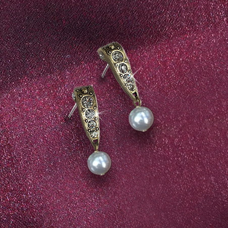Vintage Art Deco Pearl Crystal Earrings E1525 - Sweet Romance Wholesale