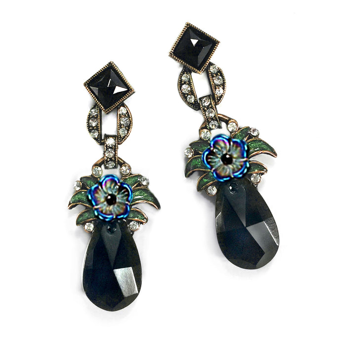 Art Deco Jet Drop Czech Flower Earrings E892 - Sweet Romance Wholesale