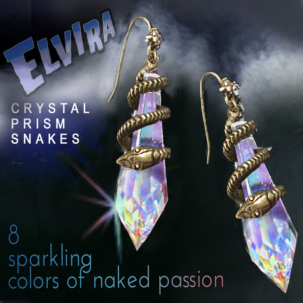 Elvira's Mystic Crystal Snake Earrings - Sweet Romance Wholesale