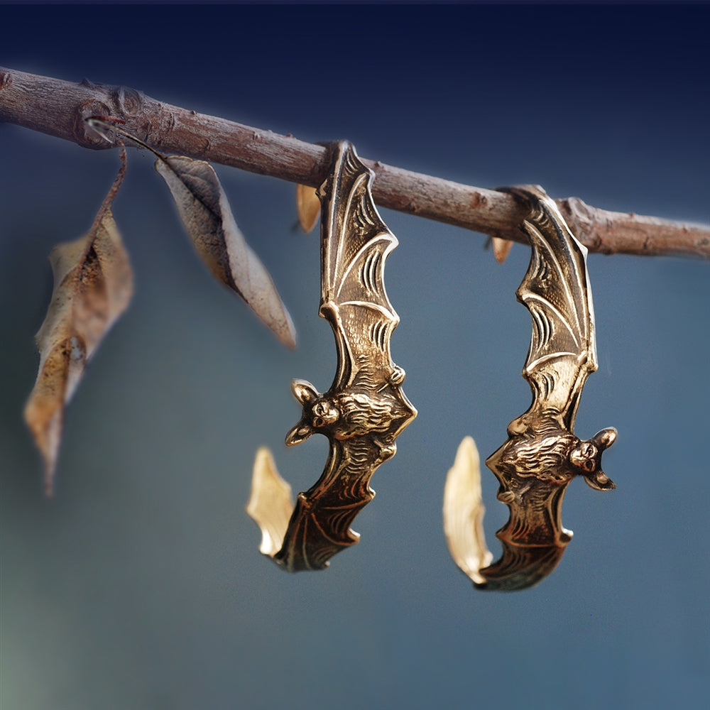 Elvira's Bat Hoop Earrings - Sweet Romance Wholesale