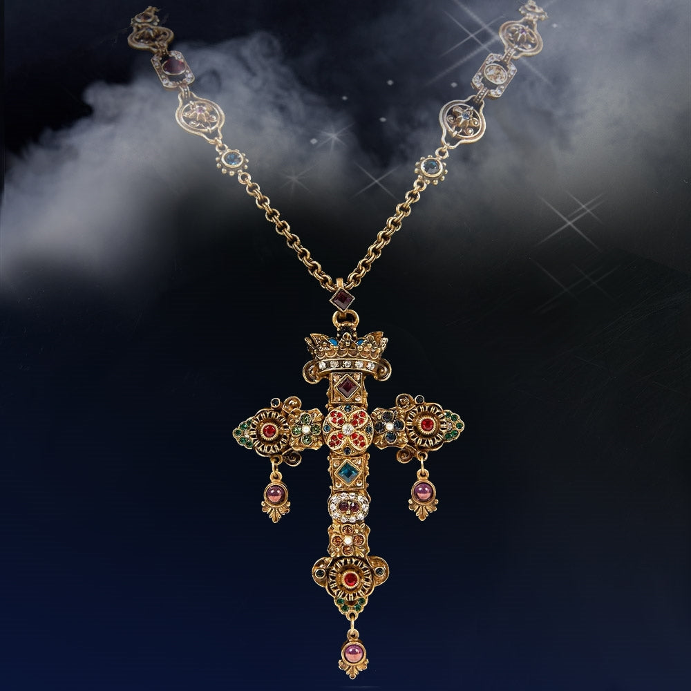 Elvira's Gothic Jewel Cross Necklace - Sweet Romance Wholesale