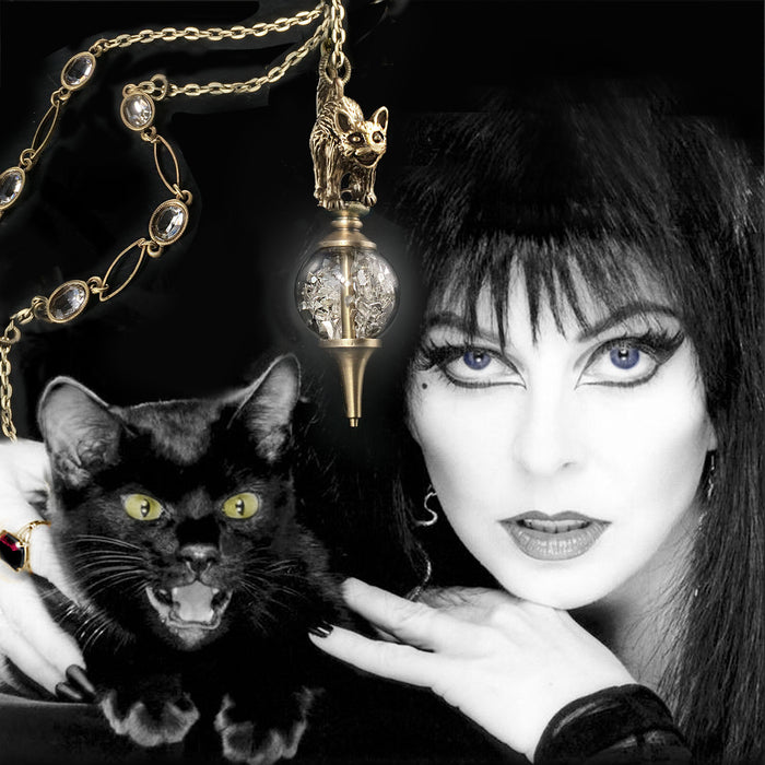 Elvira's Cat on a Crystal Ball Necklace EL_N117 - Sweet Romance Wholesale