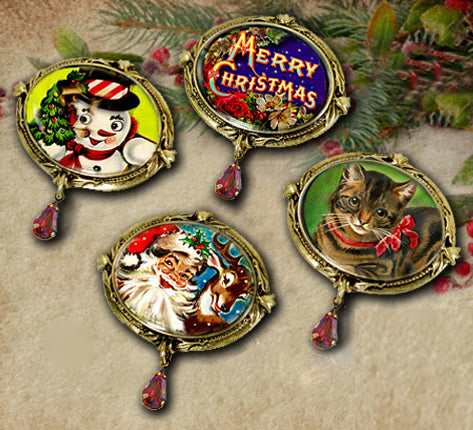 Set of 4 Christmas Pins - Sweet Romance Wholesale