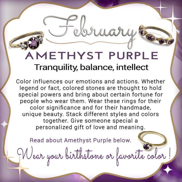 Stackable February Birthstone Ring - Amethyst Purple - Sweet Romance Wholesale