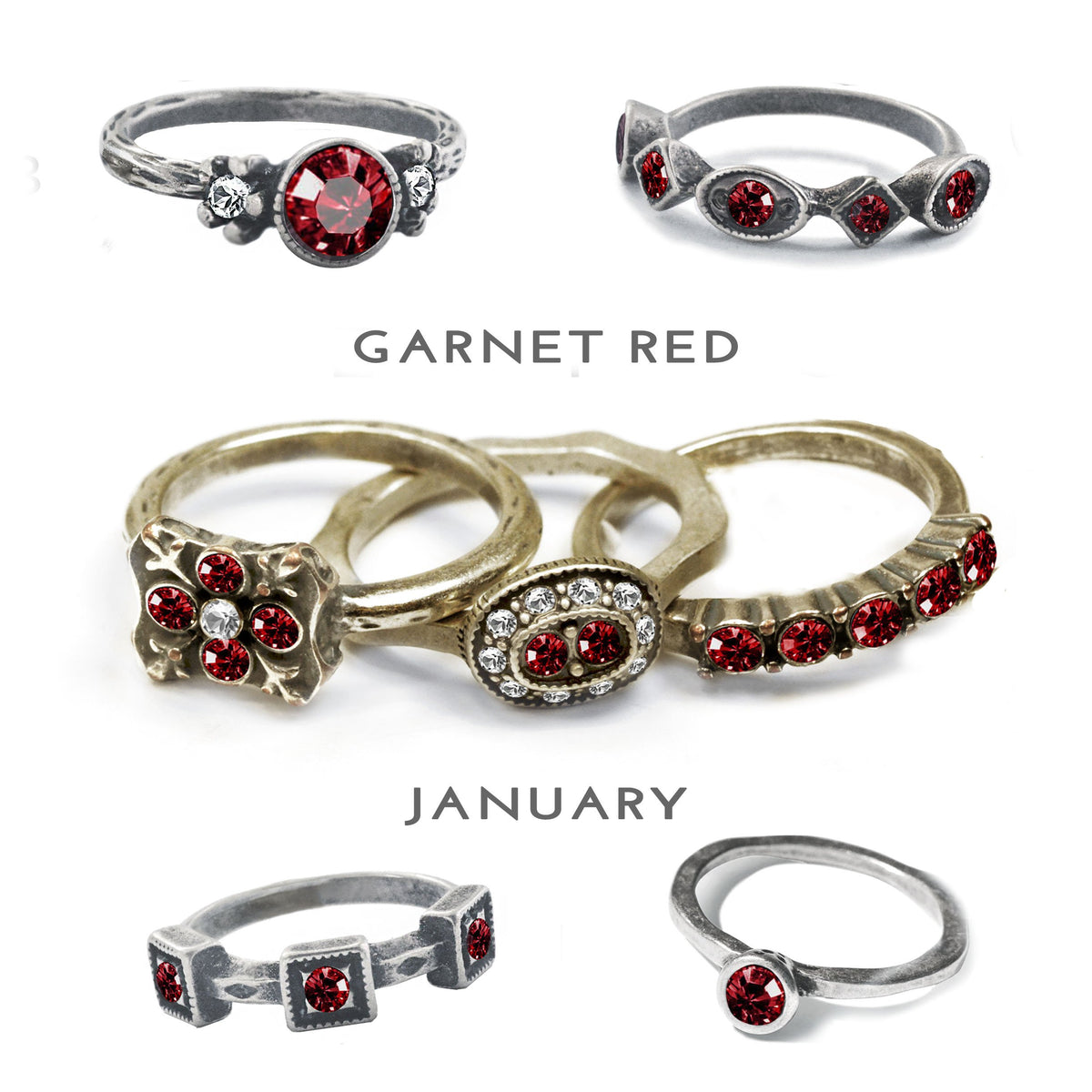 Stackable January Birthstone Ring - Garnet - Sweet Romance Wholesale