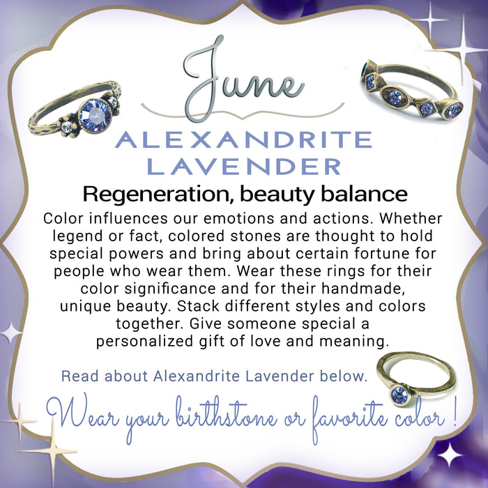 Stackable June Birthstone Ring - Alexandrite Lavender - Sweet Romance Wholesale