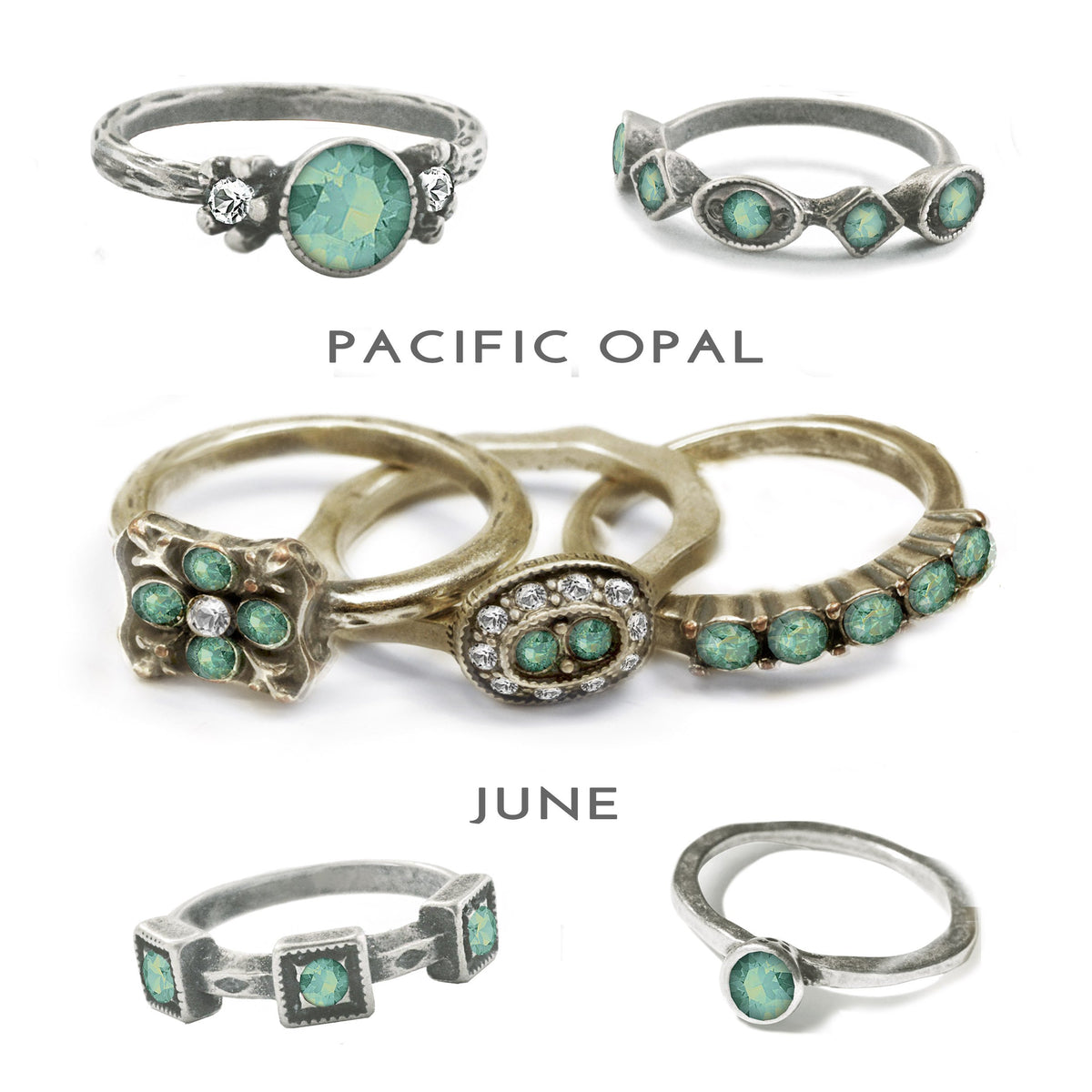 Stackable June Birthstone Ring - Pacific Opal - Sweet Romance Wholesale