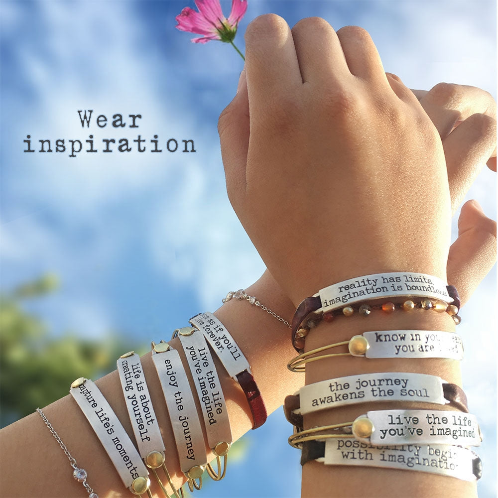 Inspirational Message Bar Bangle Bracelets - Sweet Romance Wholesale