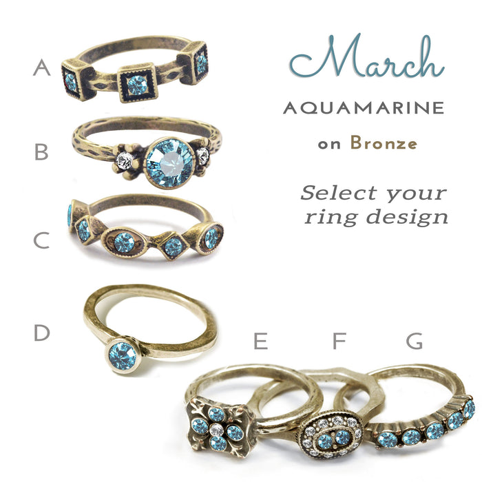 Stackable March Birthstone Ring - Aquamarine Blue - Sweet Romance Wholesale