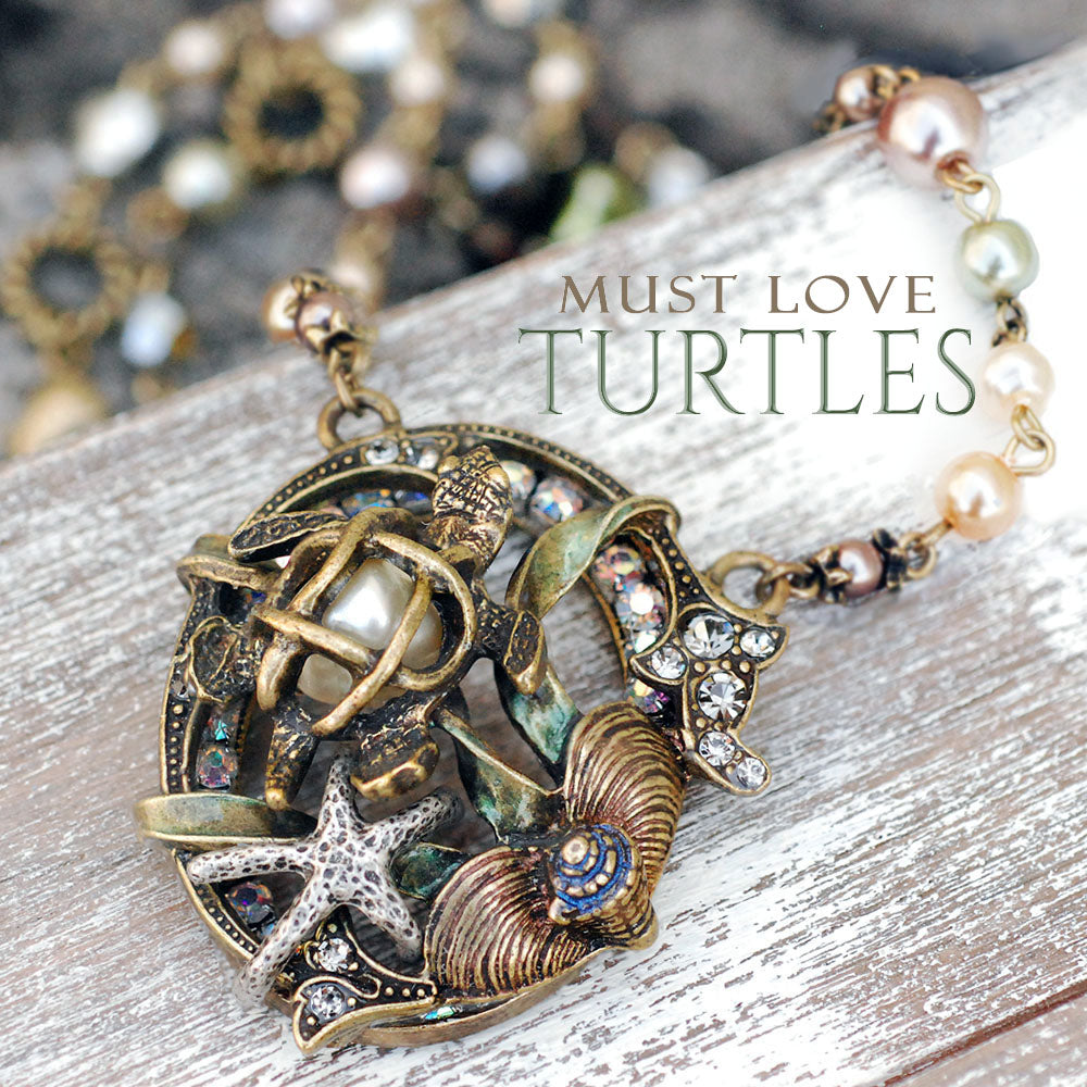 Sea Turtle Pearl Ocean Necklace N1361 - Sweet Romance Wholesale