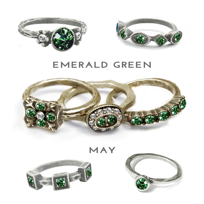 Stackable May Birthstone Ring - Emerald Green - Sweet Romance Wholesale