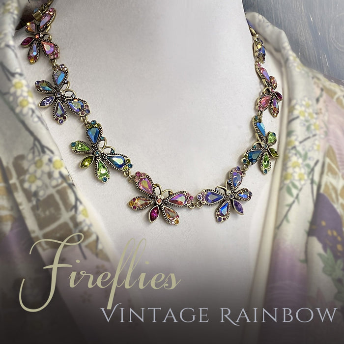 Vintage Rainbow Firefly Necklace N1221 - Sweet Romance Wholesale