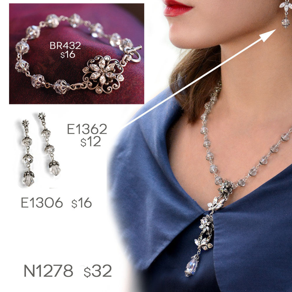 Ponte Flower Jewelry 4PC Set