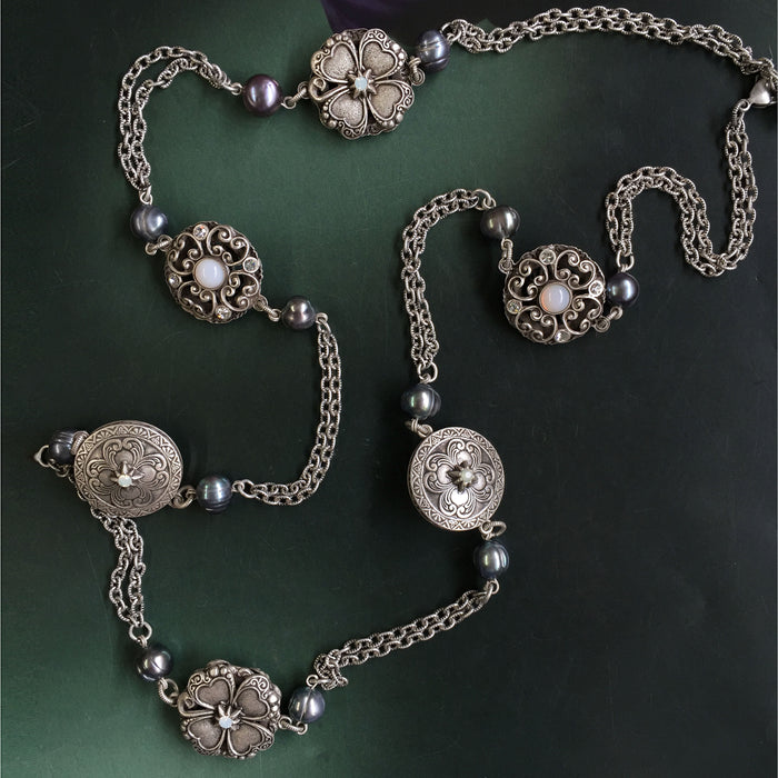 Celtic Clover Medallions & Pearls Necklace N1459 - Sweet Romance Wholesale
