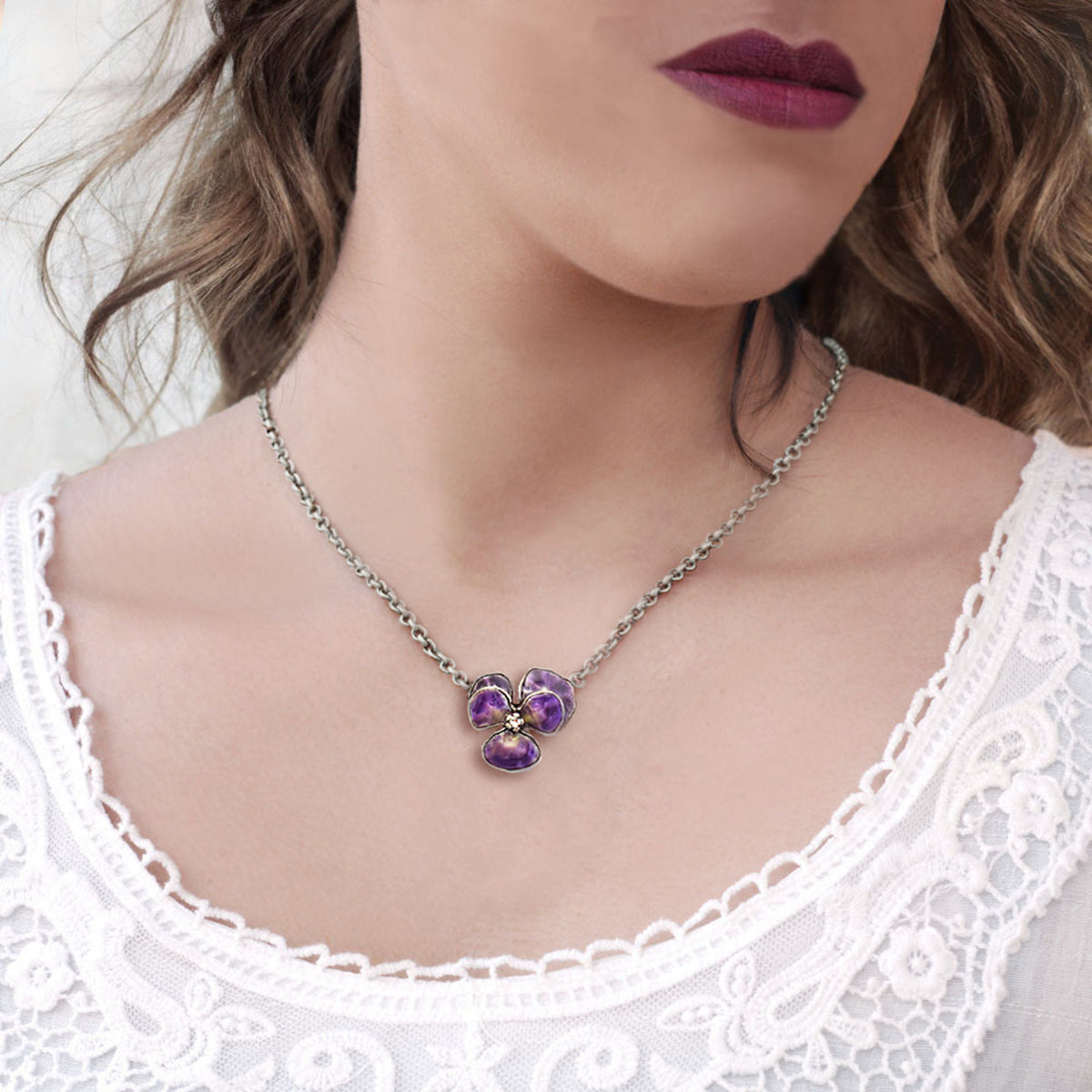 Vintage Enamel Pansy Necklace N1590 - Sweet Romance Wholesale