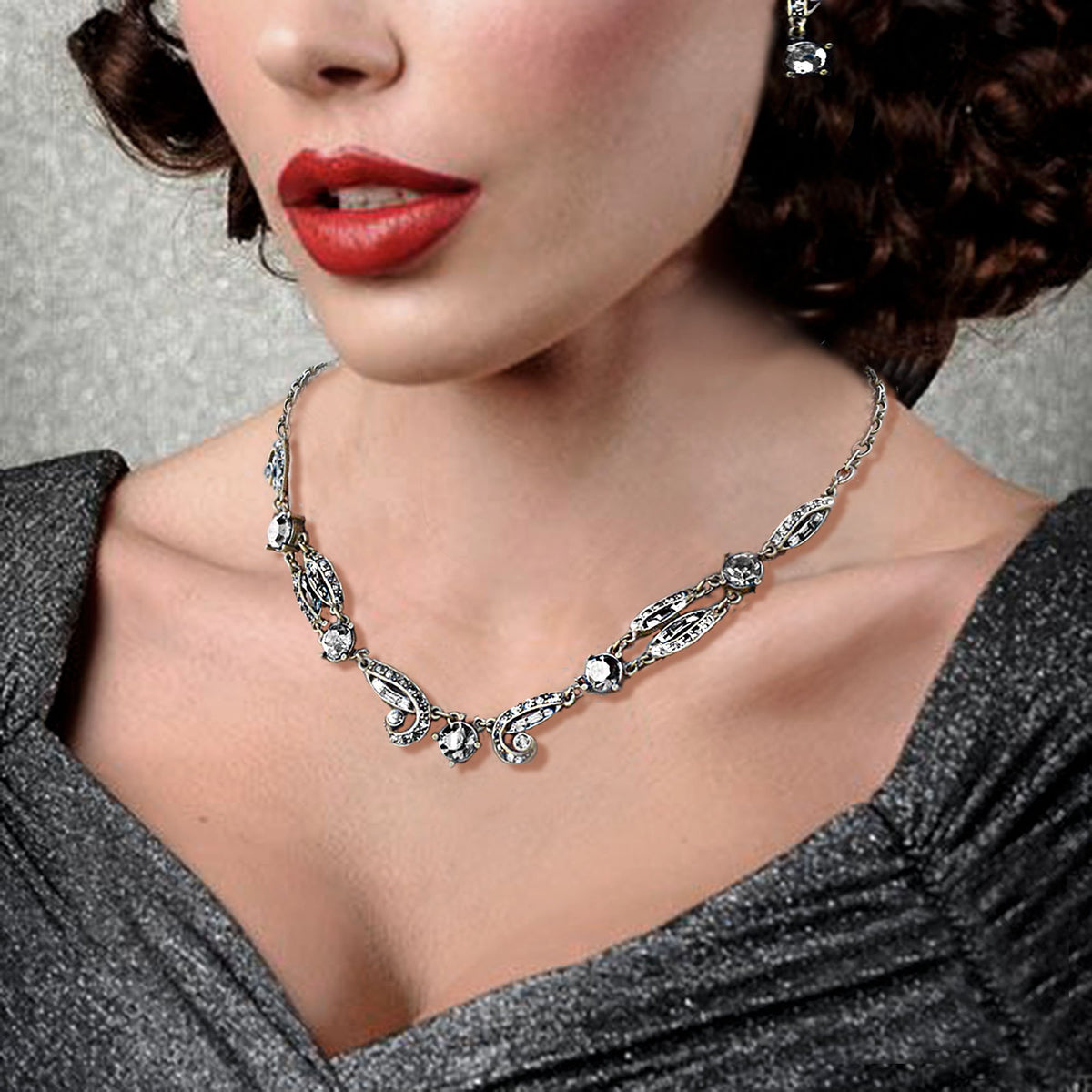 Art Deco Sapphire Crystal Necklace N1616 - Sweet Romance Wholesale