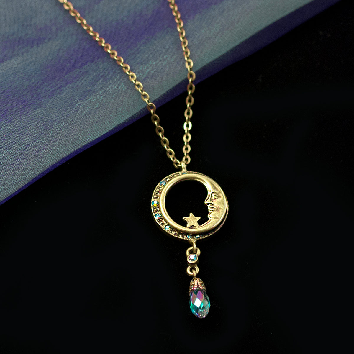 Half Moon in Circle Crystal Drop Necklace N1626 - Sweet Romance Wholesale