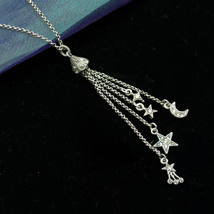 Moon & Star Delicate Tassel Necklace N1630 - Sweet Romance Wholesale