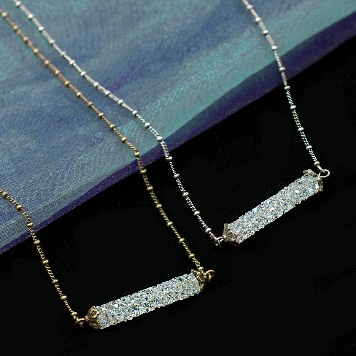 Crystal Rock Bar Necklace N1639 - Sweet Romance Wholesale