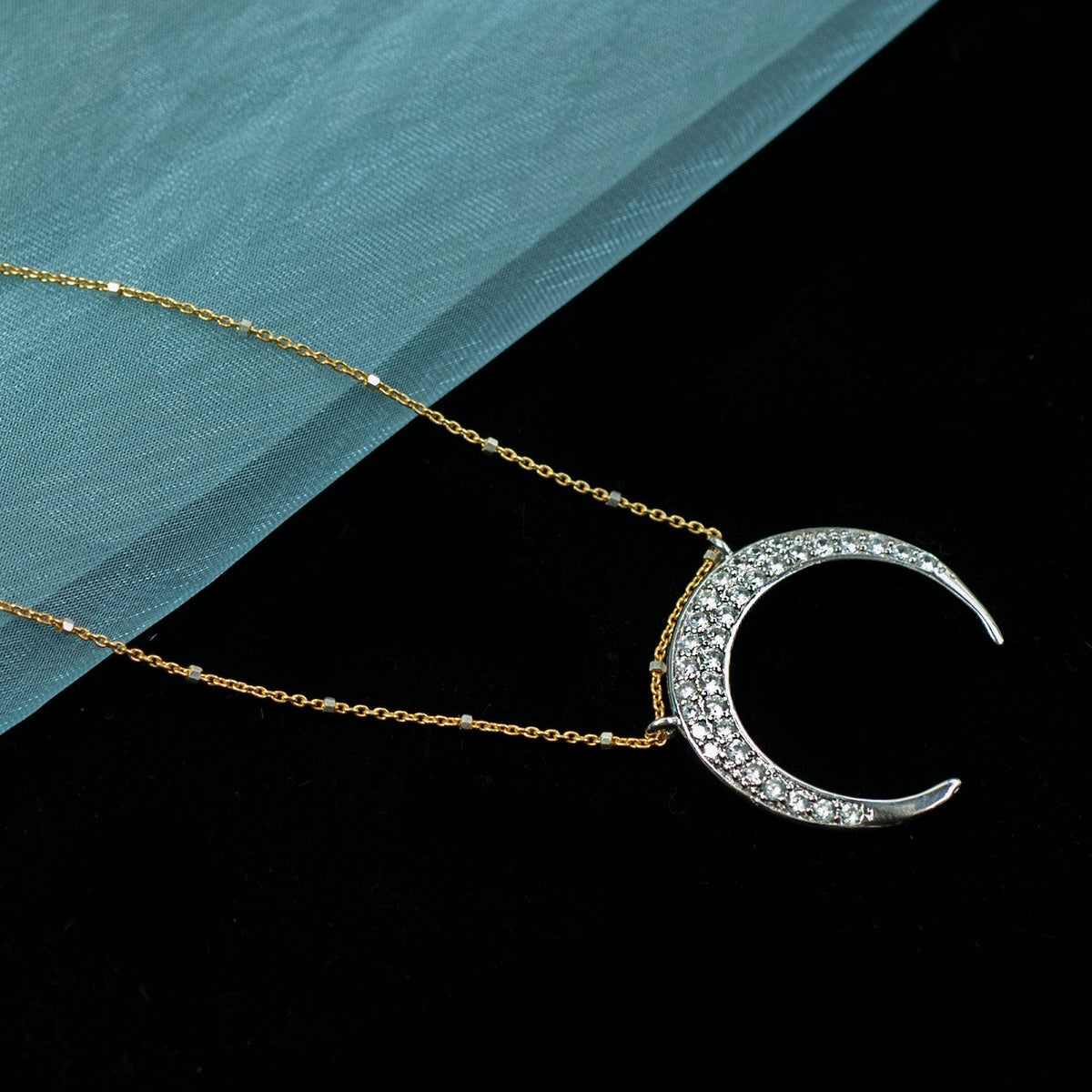 Inverted Crescent Moon Necklace N1705 - Sweet Romance Wholesale