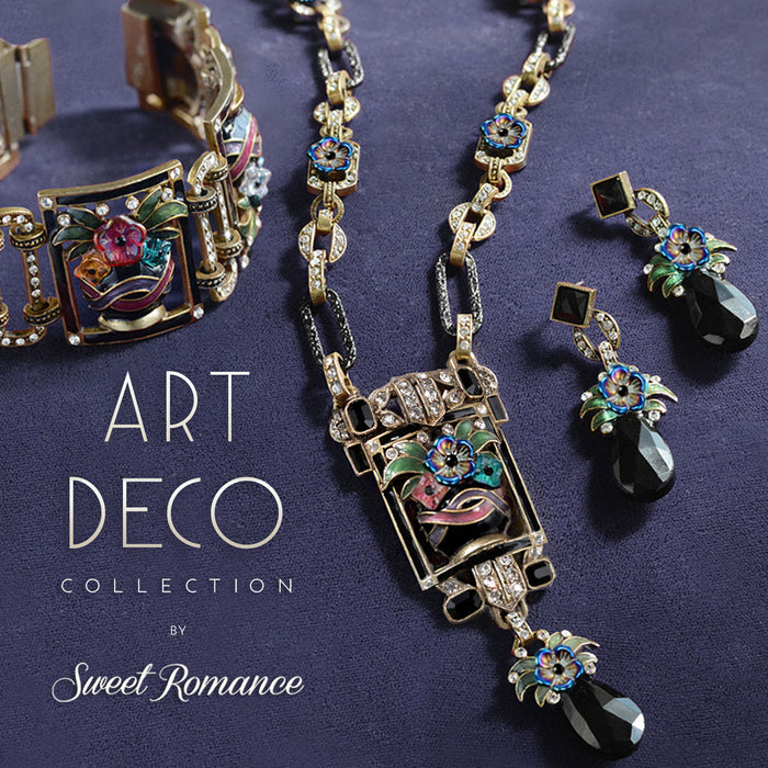 Art Deco Enamel Flower Vase Necklace - Sweet Romance Wholesale