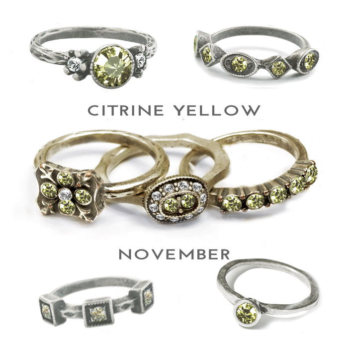 Stackable November Birthstone Ring - Citrine Yellow - Sweet Romance Wholesale