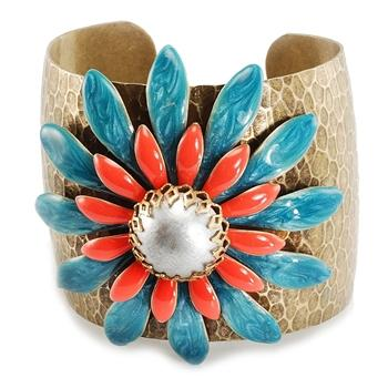 Double Daisy Coral and Turquoise Cuff