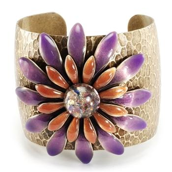 Purple Rouge & Opal Daisy Cuff OL_BR109 - Sweet Romance Wholesale