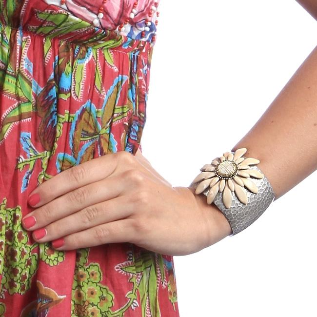 Cream Double Daisy Flower Cuff Bracelet OL_BR110 - Sweet Romance Wholesale